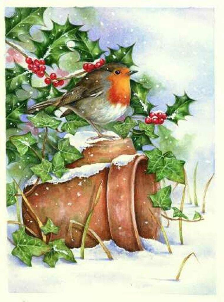 Умерших, новогодняя открытка с птичками