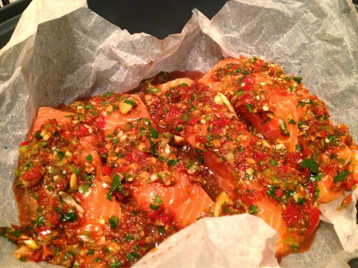 Thermomix Coriander and chilli steamed salmon. Varoma