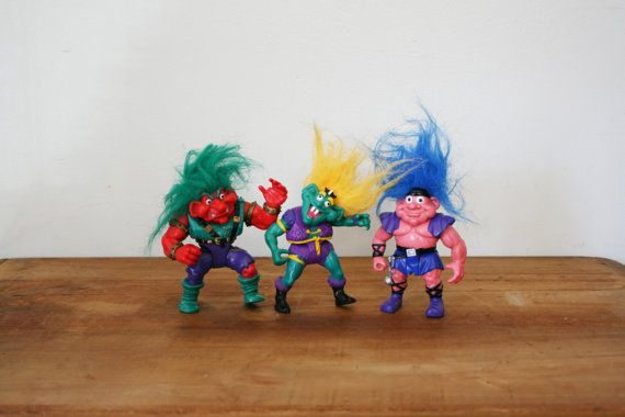 vintage 1992 Troll Warriors Group of 3 Applause Troll Action Figures 90s Fun
