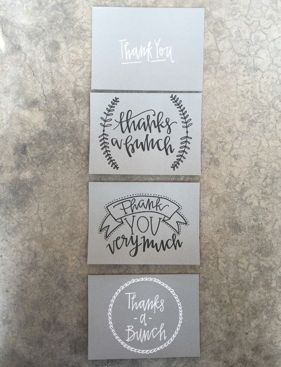 Set of Four Hand Lettered + Modern Calligraphy Greeting Thank You Cards
