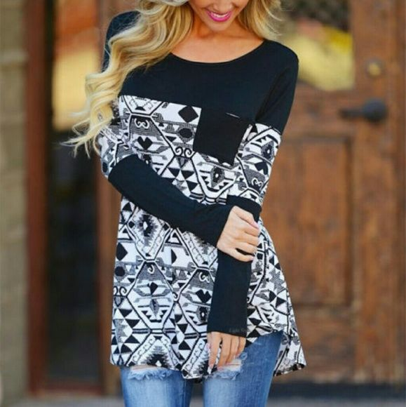 COMING SOON! BLACK AND WHITE COTTON TOP Black and white design. Wear with skinny jeans or leggings. I have to say I ordered one of these to try for myself first and I get tons of compliments every time I wear it. And it's super comfortable Tops Blouses