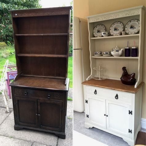 Chalk painted welsh dresser makeover before and after chalk paint, upcycled furniture in antique white. Shabby chic dresser for my kitchen. Chalk paint by Autentico. My new drinks cabinet. #shabbychicdresserswhite #shabbychicdressersmakeover #shabbychicfurniturebeforeandafter #shabbychicfurnituremakeover