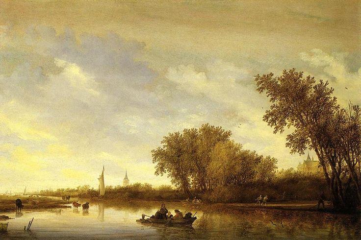Un paysage fluvial avec des bateaux et Château, huile sur panneau de Salomon Van Ruysdael (1602-1670, Netherlands)