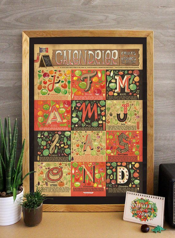 affiche a2 calendrier des fruits et l gumes de saison illustrated art print need. Black Bedroom Furniture Sets. Home Design Ideas