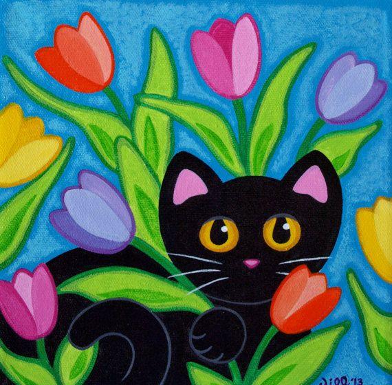 PRIMAVERA ha llegado en esta impresión colorida! Señorita medianoche está sentado bastante en los tulipanes brillantes, audaces!  Se trata de una
