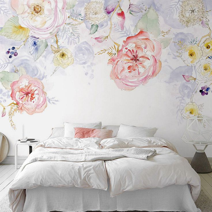 Watercolor Blooms Wallpaper Fresh Spring Flower U0026 Leaves Watercolor  Blossoms Wall Mural Art Bedroom Pink Red Part 79