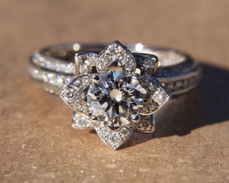 UNIQUE Flower Rose Diamond Engagement or Right Hand Semi mount Ring - 18K white gold - wedding - brides - fL01. $4,900.00, via Etsy.