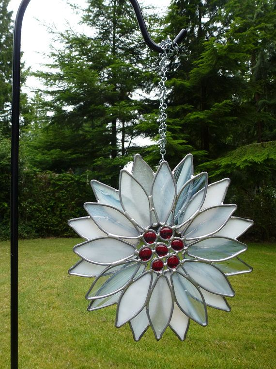 Stained Glass White Red Poinsettia Suncatcher by BlueFishStudios, $65.00