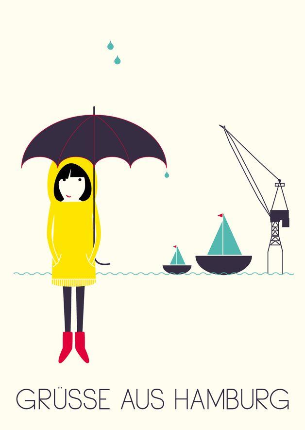 Städte - Postkarte »Grüße aus Hamburg« - ein Designerstück von superkiosque bei DaWanda