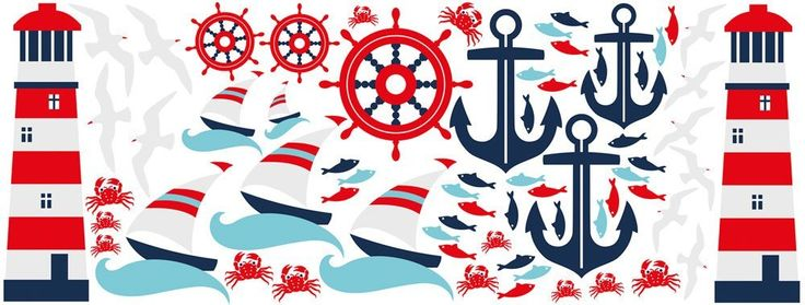 Wall Sticker Set for Bathroom Maritime Lighthouse Anchor Ship Steering Wheel Fish, multicoloured, 150 x 57 cm: Amazon.co.uk: DIY & Tools
