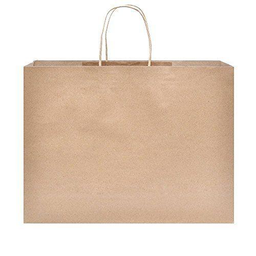"16x6x12"" Kraft Brown Paper Handle Shopping Gift Merchandise Carry Retail Bags 25 Pcs"