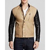 Kent and Curwen Leather and Linen Moto Jacket
