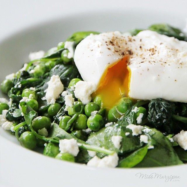 Poached Eggs with Peas, Spinach + Feta from the I Quit Sugar 8-Week Program. Photograph by @missmarzipancom.