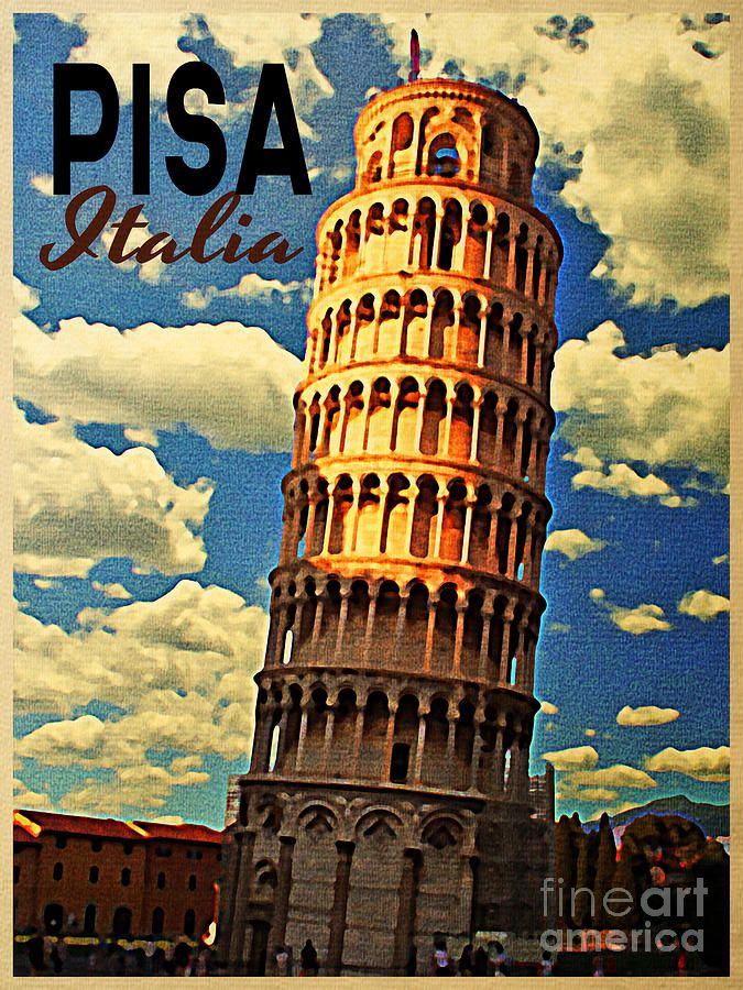 Vintage Art | Vintage Pisa Italy Digital Art by Vintage Poster Designs - Vintage ...