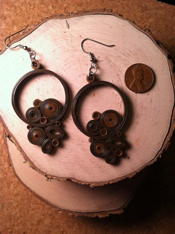 Chocolate Gear Quilled Earrings:  Anna, Charm City Quills, Baltimore, Maryland, Etsy