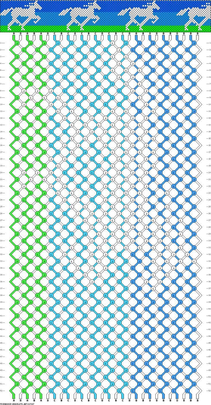 Horse Friendship Bracelet:  28 strings, 52 rows, 4 colors