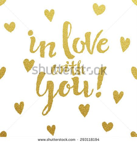 In love with you - Gold glittering lettering card with hearts