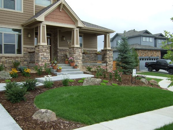 Front yard landscape ideas with rock and bark google for The best front yard landscaping