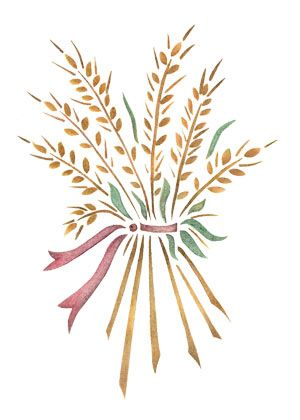 quickly and easily create a country ambience in your home with our wheat bouquet painting stencil