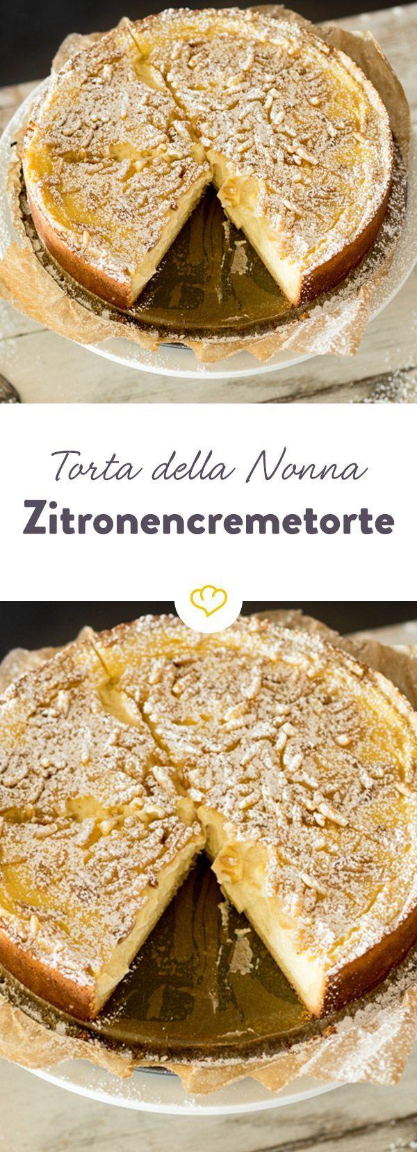 Blättriger Mürbeteig gefüllt mit vanilliger Zitronencreme, getoppt mit knackigen Pinienkernen - Italienische Spezialität