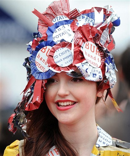 ladies day at cheltenham races today.  what a hat!