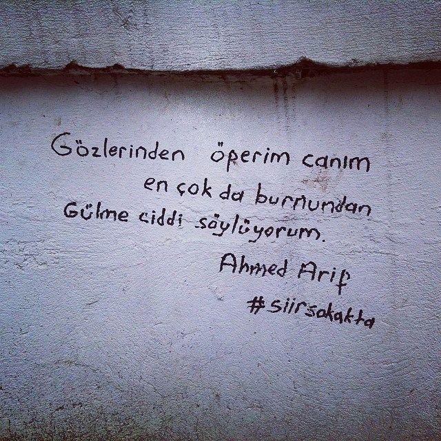 Gözlerinden öperim cânım. En çok da burnundan. Gülme, ciddi söylüyorum.  - Ahmed Arif  #sözler #anlamlısözler #güzelsözler #manalısözler #özlüsözler #alıntı #alıntılar #alıntıdır #alıntısözler