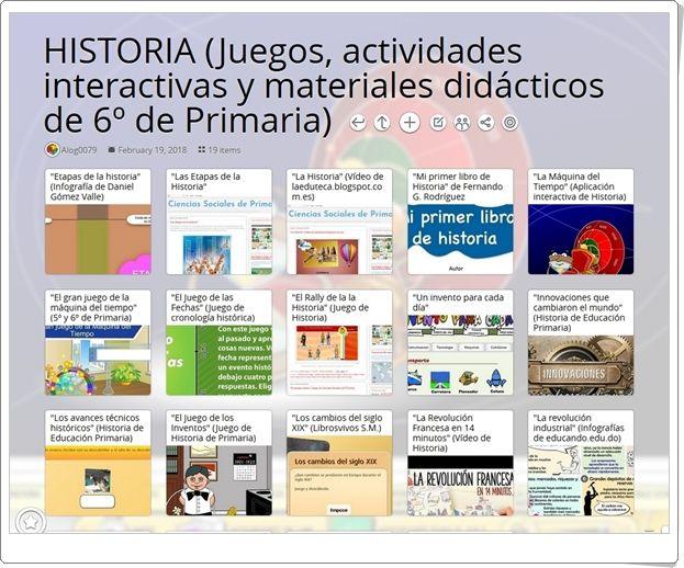 """""""19 Juegos, actividades y materiales para el estudio de LA HISTORIA en 6º de Primaria"""""""