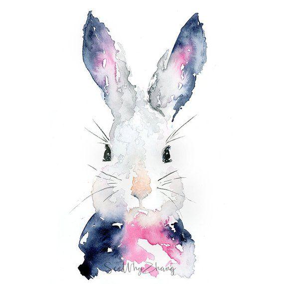 BLUE BUNNY RABBIT ART PRINT POSTER Animals Bright Wall Decor Illustration