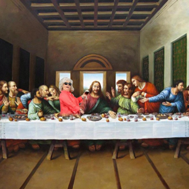 Favorite pic from pauladeenridingthings.com. Check it out if you haven't before. Xylophone, Jesus, Art, Funny Stuff, Leonardo Da Vinci, Davinci, Benedict Cumberbatch, Paula Deen, Last Suppers