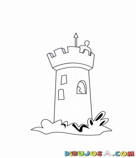 Colorear la torre del castillo | COLOREAR CASTILLOS | Dibujo para Pintar una torre de un castillo | dibujosa.com