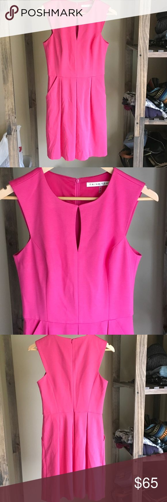 """⚠️Low Ball Sale⚠️ Pink Trina Turk dress Pretty pink dress from Trina Turk.  Pockets on the sides, cutout at the top and a zipper down the back.  Wrinkled from storage but in excellent condition.  Size 2.  Fully lined and measures 36"""" long. Trina Turk Dresses"""