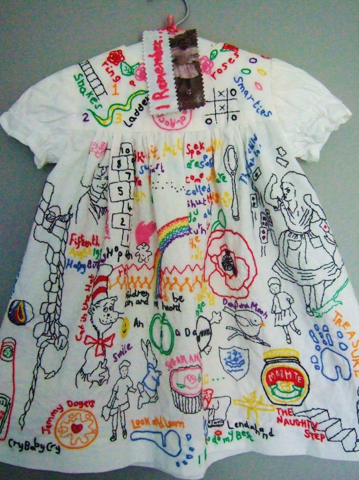 Childhood memories - hand made child's dress covered with hand embroidery