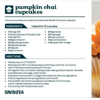 David's Tea Pumpkin Chai Cupcakes