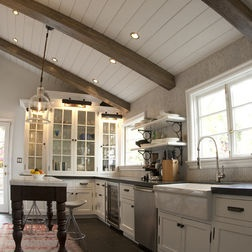 White Tongue And Groove Ceiling Planks with wood beams