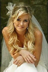 bride hair half up half down - Google Search
