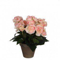 Begonie artificiala in ghiveci H25 roz
