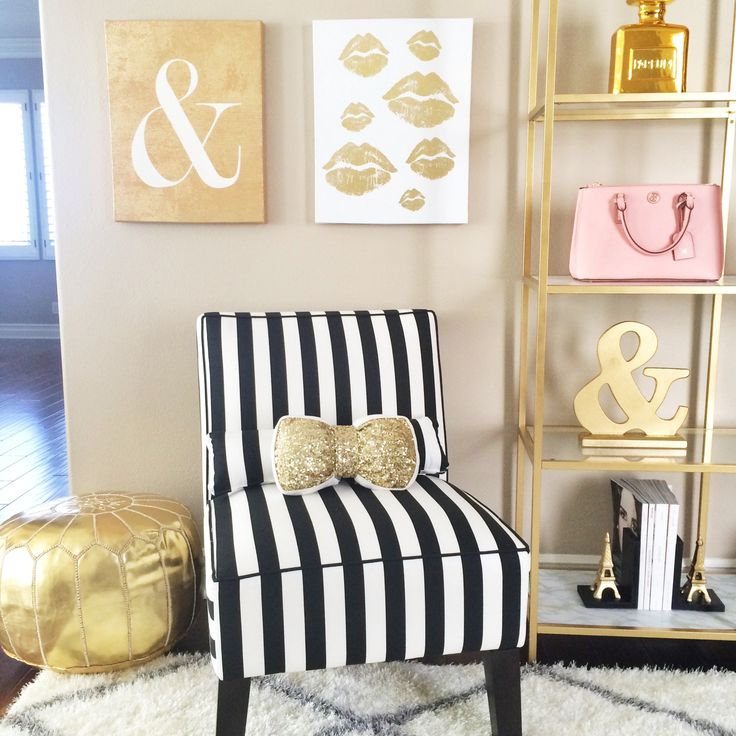 Striped armless black and white chair, gold pouf, sequin bow accent pillow, gold and marble shelves // Click the following link to view the details on these items plus more home decor:   http://www.stylishpetite.com/p/home-decor.html
