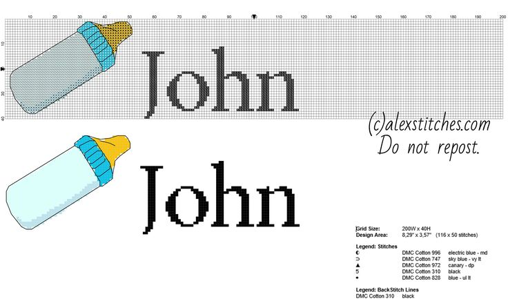 Cross stitch baby name John with a light blue feeding ...