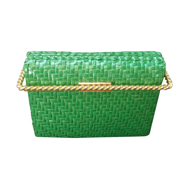 Rodo Italy Emerald Green Gilt Trim Wicker Clutch c 1980 | From a collection of rare vintage clutches at https://www.1stdibs.com/fashion/handbags-purses-bags/clutches/