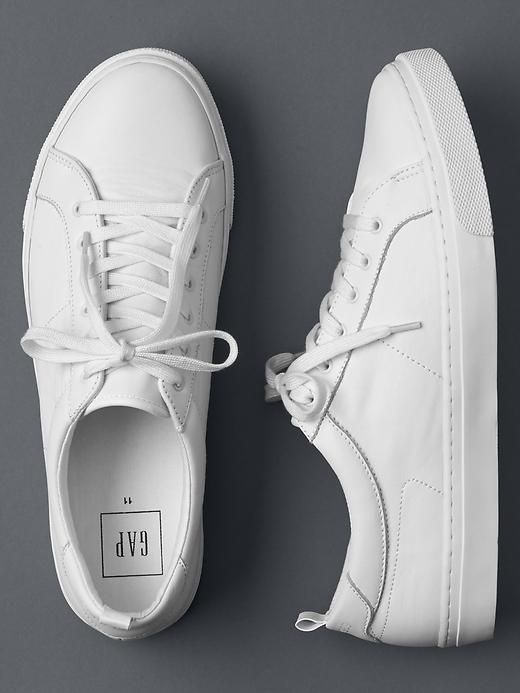 Gap white leather sneakers $60 ($30 with employee discount/$36 with 40% off coupon)