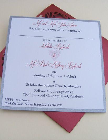 Superb Heart Laser Cut Wallet Wedding Invitation Insert   Red