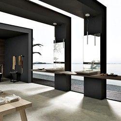 Meuble de salle de bain design avec plan suspendu et miroir avec mitigeur intégré MB3/SURF Composition 2 - Porto Venere