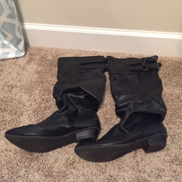 Black biker boots with side nickels Only worn a few times. In great shape. Sit just below the knee Mossimo Supply Co. Shoes Combat & Moto Boots