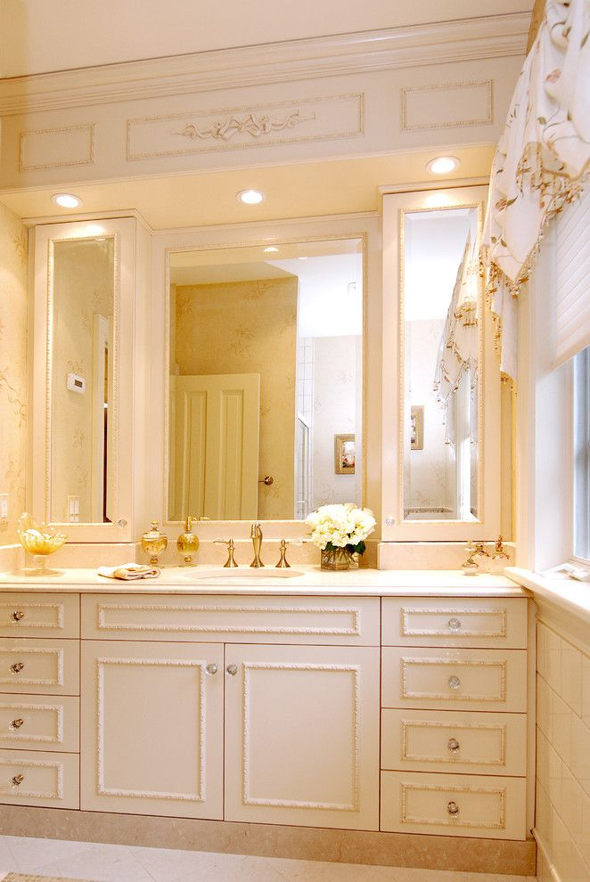 Excellent Shabby Chic White Bathroom With Center Vanity This Master Bathroom Has