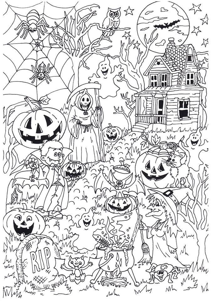 Lekker Griezelen Tijdens Het Kleuren Van Deze Halloween