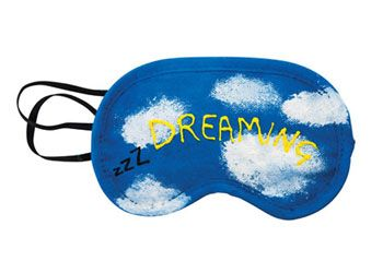 Dream away with this calico eye mask. Plain, ready for you to decorate and give as a great gift.