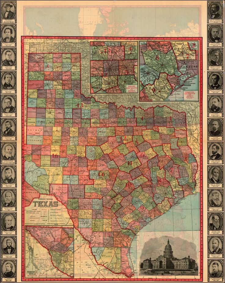 Houston Map Framed%0A Texas Portraits of Governors