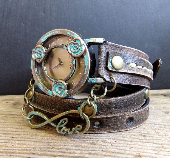 Vintage Looking Wrap Watch Womens leather by CuckooNestArtStudio