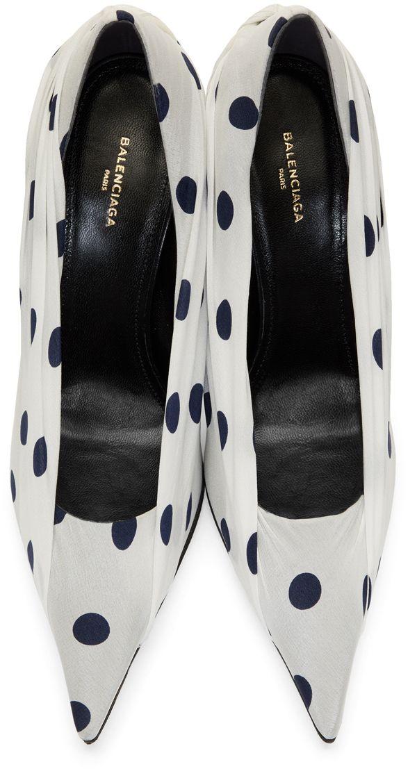Balenciaga - White & Navy Polka Dots Heels
