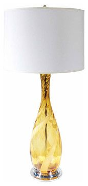 Italian Glass Lamp on Chrome Base - mediterranean - table lamps - new york - Second Shout Out
